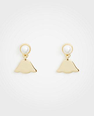 Ann Taylor Pearlized Leaf Earrings