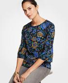 Ann Taylor Floral Ponte Gathered Sleeve Top