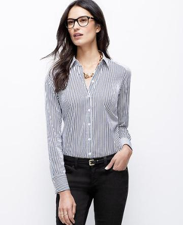Ann Taylor Tall Wide Stripe Perfect Shirt, White - Size 0