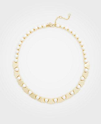 Ann Taylor Pearlized Leaf Necklace