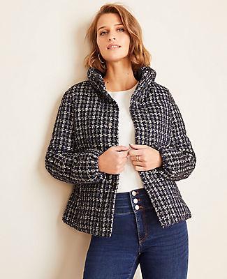 Ann Taylor Tweed Puffer Jacket