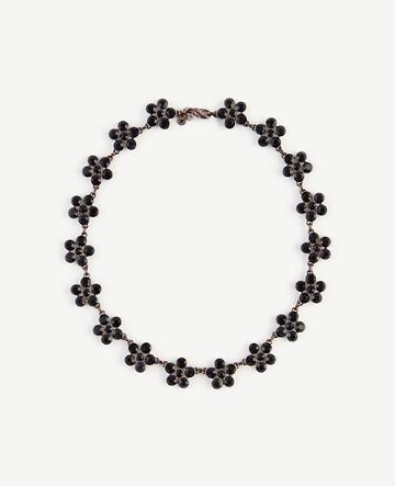 Ann Taylor Round Crystal Floral Necklace