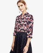 Ann Taylor Fanned Floral Camp Popover