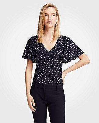 Ann Taylor Butterfly Flower V-neck Flutter Sleeve Top
