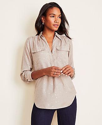 Ann Taylor Clip Dot Camp Shirt