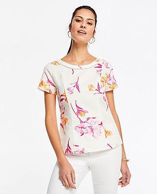 Ann Taylor Floral Linen Cotton Structured Top