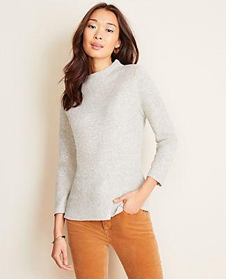 Ann Taylor Mock Neck Peplum Sweater