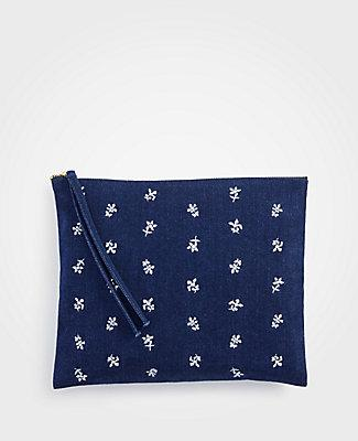 Ann Taylor Embroidered Pouch