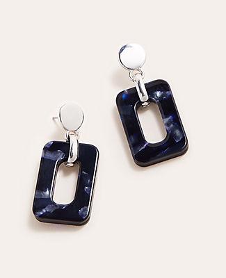 Ann Taylor Tortoiseshell Print Square Nugget Drop Earrings