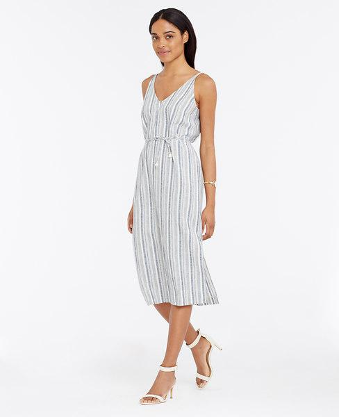 Ann Taylor Petite Striped Linen Cotton Midi Dress, Sky Chambray - Size 0