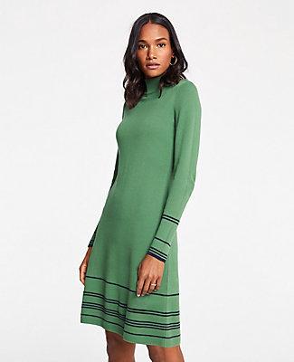 Ann Taylor Stripe Button Turtleneck Sweater Dress