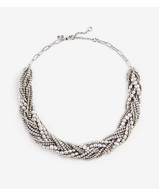 Ann Taylor Twisted Pearlized Statement Necklace