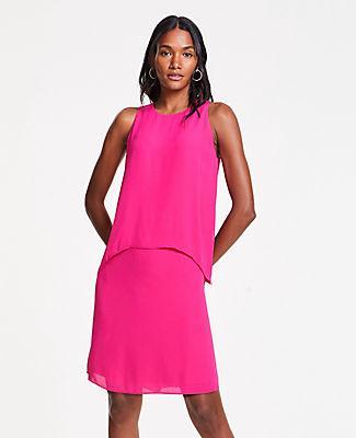 Ann Taylor Flowy Overlay Shift Dress