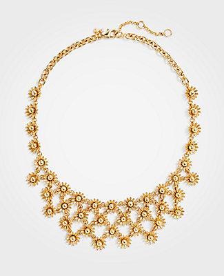 Ann Taylor Metallic Daisy Statement Necklace