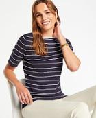 Ann Taylor Striped Boatneck Sweater Tee
