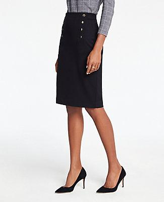 Ann Taylor Sailor Button Pencil Skirt