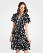 Ann Taylor Floral Flutter Sleeve Wrap Dress