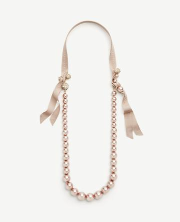 Ann Taylor Pearlized Ribbon Necklace