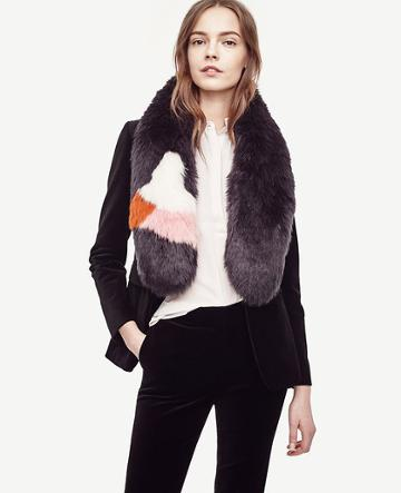 Ann Taylor Colorblock Furry Stole