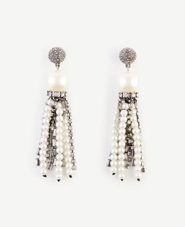 Ann Taylor Crystal Pearlized Tassel Earrings