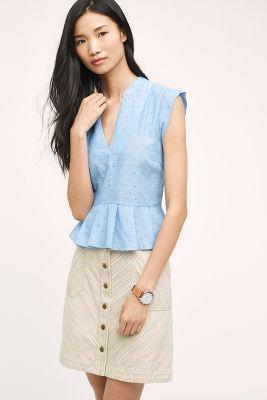Porridge Clipdot Chambray Top