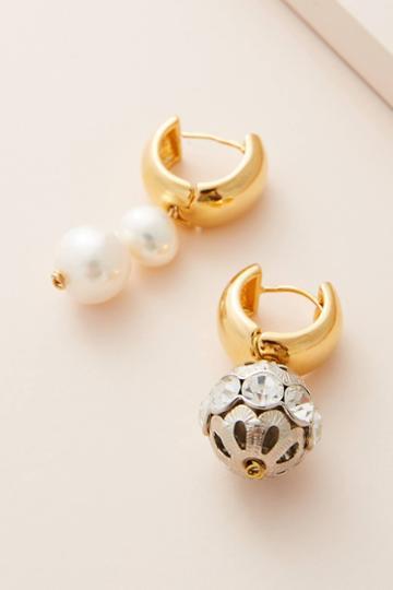 Timeless Pearly Sparkle Hugger Hoop Earrings