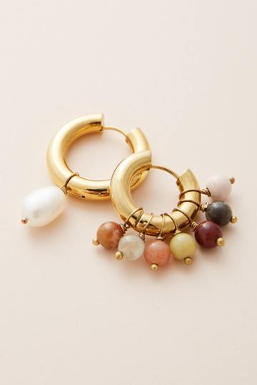 Timeless Pearly Earthy Hugger Hoop Earrings