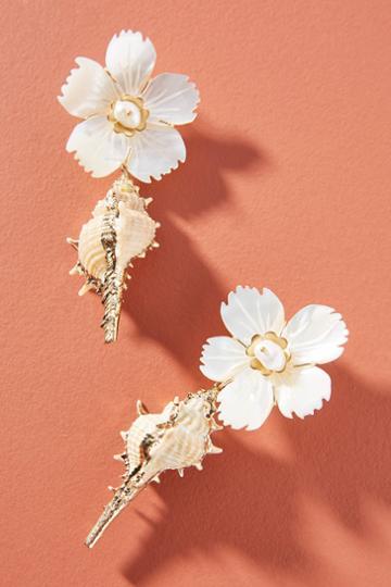 Nicola Bathie Jewelry Mother-of-pearl Flower Shell Drop Earrings