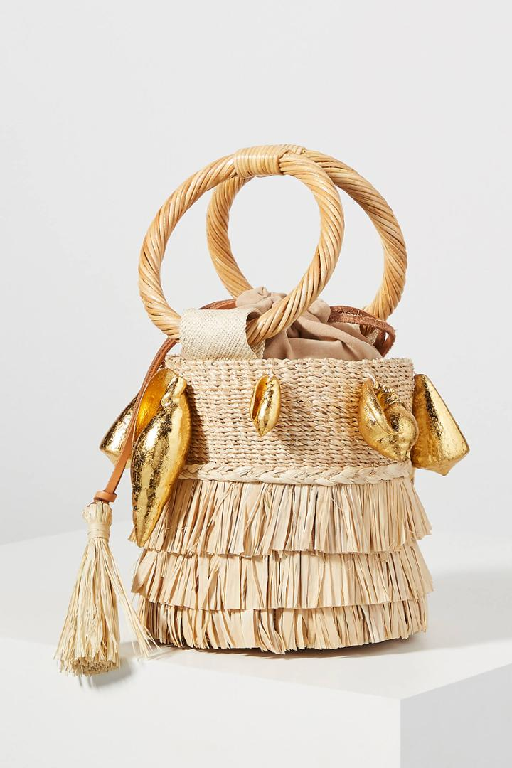 Aranaz Nona Fringed Bucket Bag