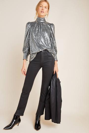 Paige Claudine Coated High-rise Flare Jeans