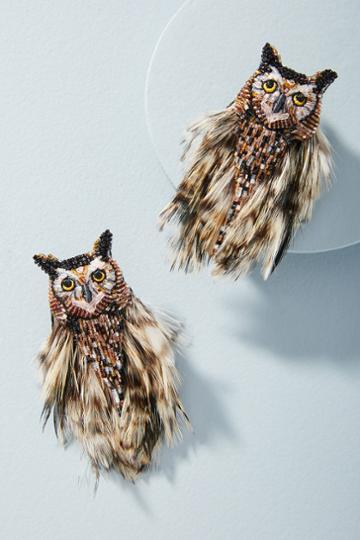 Mignonne Gavigan Brown Owl Earrings