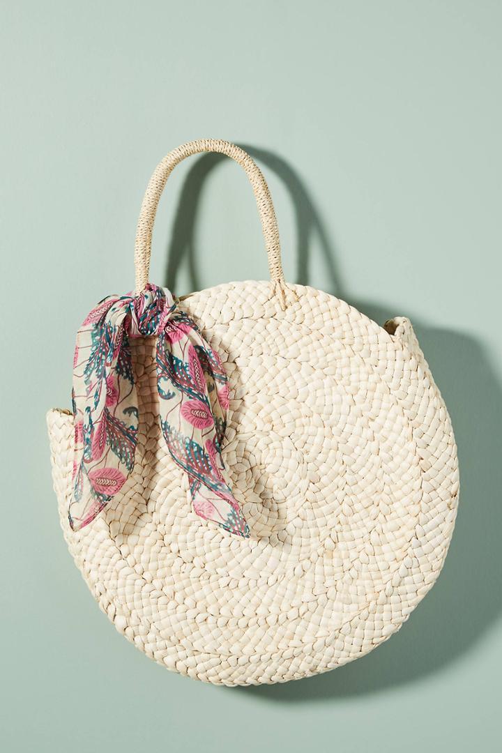 Maud Fourier Paris Classic Straw Circle Tote Bag
