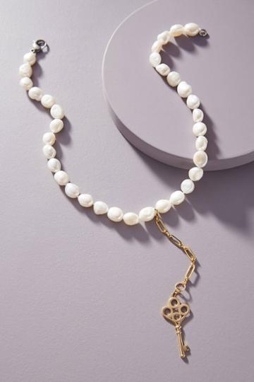 Timeless Pearly Key Lariat Necklace