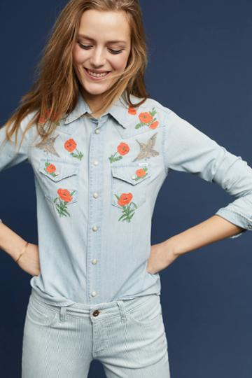 Mother Mother Embroidered Rose Buttondown
