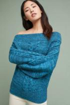 Sleeping On Snow Off-the-shoulder Cableknit Sweater