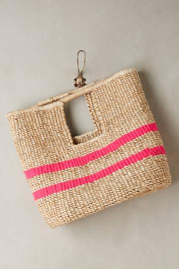 Indego Africa Fuschia-striped Straw Bag