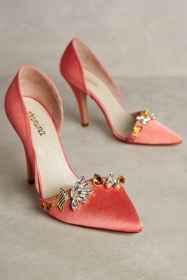 Vanina Embellished Esca Heels Coral