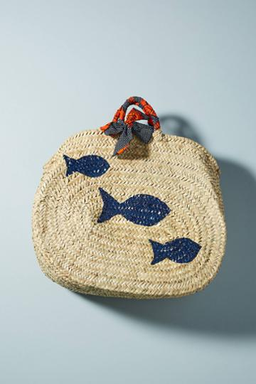 Maud Fourier Paris Painted Fish Straw Tote Bag