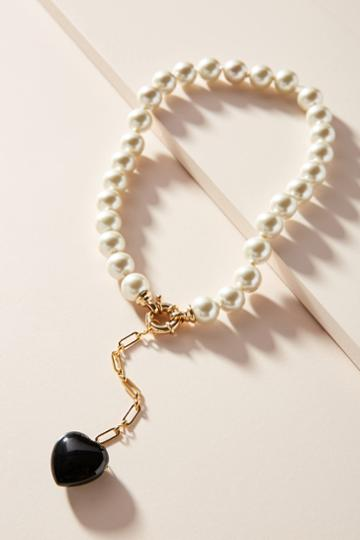 Timeless Pearly Heart Lariat Necklace