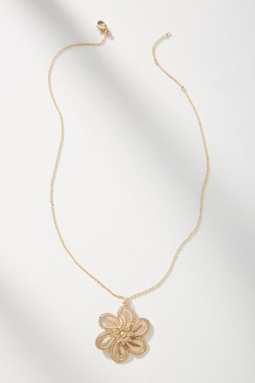 Anthropologie Julietta Flower Pendant Necklace