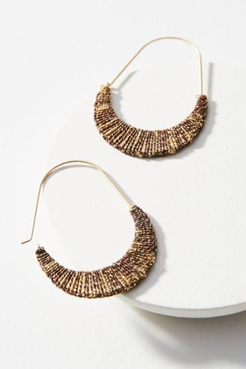 Anthropologie Wrapped Metallic Hoop Earrings