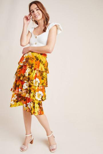 Wolven Mavis Tiered Midi Skirt