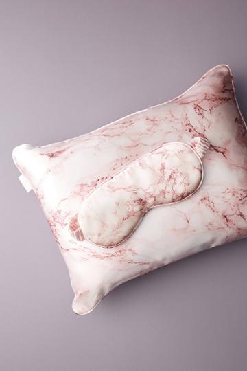 Slip Pink Marble Silk Beauty Sleep Travel Set