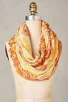 Anthropologie Embroidered Canary Infinity Scarf