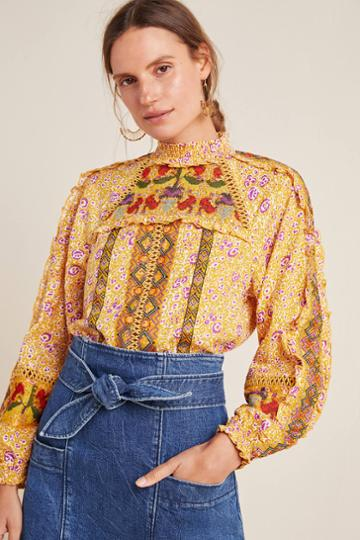 Maeve Goldie Embroidered Blouse