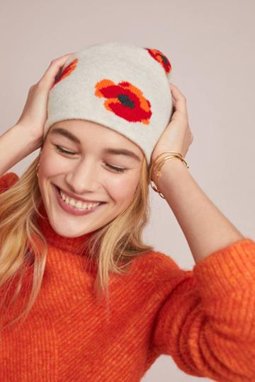 Kitted In Cashmere X Anthropologie Cashmere Poppy Beanie