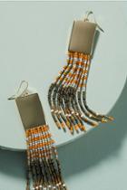 Noir Beaded Rectangle Drop Earrings