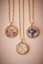 Anthropologie Pressed Flower Necklace