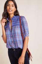Maeve Lise Smocked Plaid Buttondown