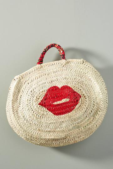 Maud Fourier Paris Kiss Kiss Straw Tote Bag